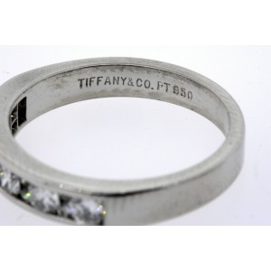 Tiffany & Co. Ring Band Channel Set Small Diamonds In Between Platinum .64ct