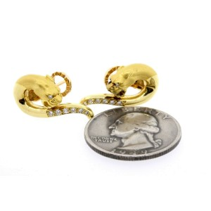 Carrera Y Carrera Panther Diamond Earrings Omega Back 18k Yellow Gold