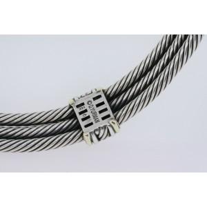 David Yurman Iolite Triple Cable Necklace Choker Collar 14k Gold Sterling