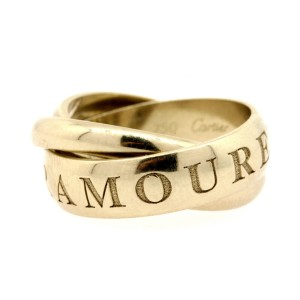 Cartier Or Amour Et Trinity Band Ring 18k White Gold sz 60 US 9.5 1998