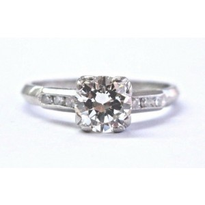 Vintage Platinum Round Cut Diamond Solitaire W Accent Engagement Ring .72CT