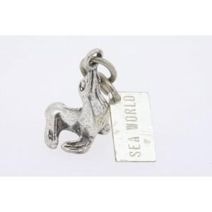 Vintage Sterling Silver Charm Sea Lion 3D Sea World Tag