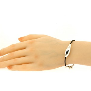 Tiffany & Co. Gehry Fish Sterling Silver Bracelet Black Cord 7.25 Toggle