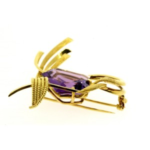 "H. Stern Amethyst Pin Brooch 18k Gold Large 2"" Tall 21.1 grams"