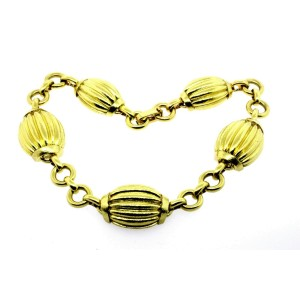 "David Webb Choker Necklace 18k Yellow Gold 14.5"" 5 Station Link Chain"