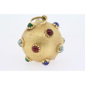 "HUGE 18k Ball Pendant Gemstone Sputnik Coral Turquoise Lapis 1 1/4"" 21.5g"