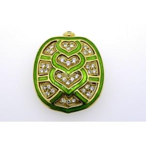 Judith Leiber Pin Brooch Tortoise Shell Diamond Green Enamel  18k Yellow Gold