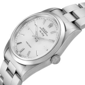 Rolex Air King 34mm Silver Dial Smooth Bezel Steel Mens Watch 14000