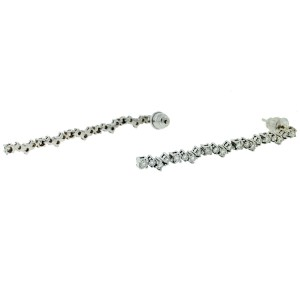 18k White Gold Diamond Drop Earrings Aprox 1.25 CTW