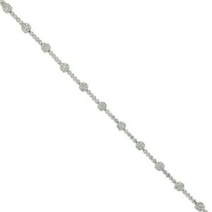 14k White Gold Diamond Flower Tennis Bracelet Aprox 2.64 CTW