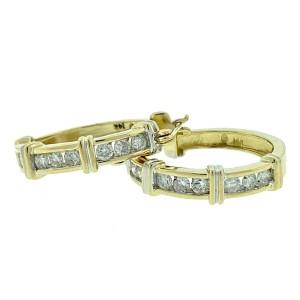 14k Yellow Gold Diamond Hoop Earrings Aprox .55 CTW