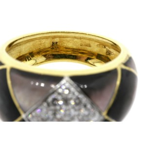 Ring Earring Set 18k Gold Black Mother Pearl Inlay Pave Diamond 1.50ctw sz 7