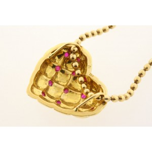 Ruby Heart Necklace Pendant 18k Yellow Gold Puffy 3D Bead Ball Chain 17.9g