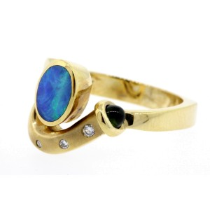 Bagley & Hotchkiss Ring Diamond Oval Opal Inlay 14k yellow Gold size 6.25