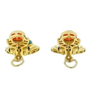 18k Yellow Gold Carnelian Jade Cabochon Drop Earrings