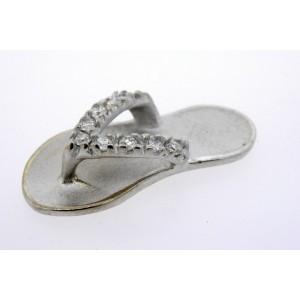 Na Hoku Sandal Diamond Pendant 14k White Gold Slipper Flip Flop NO CHAIN