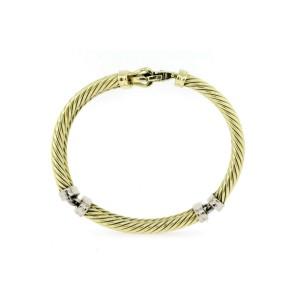 "David Yurman Bangle Bracelet Double Cable 3 Station 14k Yellow White Gold 7.25"""