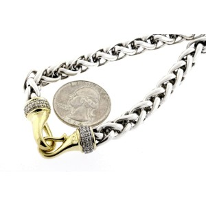 "David Yurman Wheat Chain Diamond Necklace Sterling Silver 18k Gold RARE 20"""