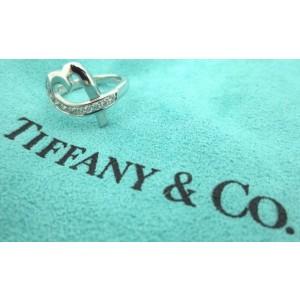 $2200 TIFFANY & CO Paloma Picasso Heart Diamond 18K White Gold Ring Size 4.5