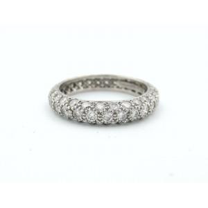 Tiffany & Co Platinum Etoile Three 3-Row Pave Diamond Band Ring PT950 Size 6