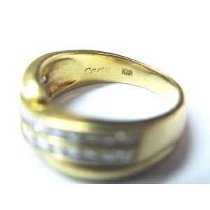 Cartier 18k Asscher Cut 2-Row Diamond Anniversary Yellow Gold Ring