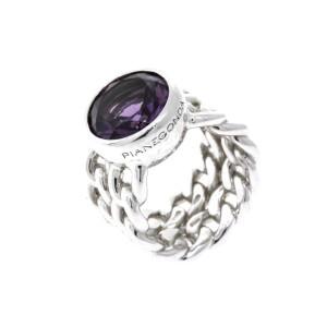 Pianegonda Sterling Silver Ring Amethyst Curb Chain Link Design size 7.5