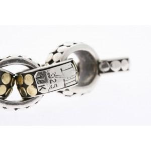 """John Hardy Sterling Silver Bracelet 18k Gold Dot Link Oval 8"""" Toggle Clasp"""