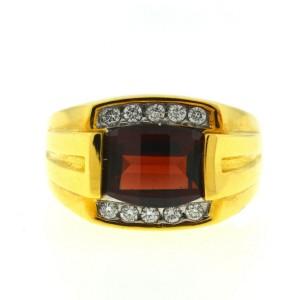 18k Yellow Gold Birks Garnet & Diamonds Men's Ring