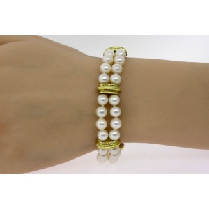 """Tiffany & Co. Bracelet Double Pearl Strand 18k Yellow Gold Stations 7"""""""