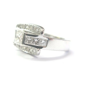 Princess Cut NATURAL Diamond Designer SOLID White Gold Engagement Ring 1.28Ct