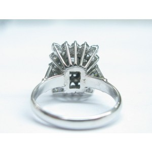 Fine Emerald & Round Cut Diamond White Gold Cluster Jewelry Ring 1.60CT