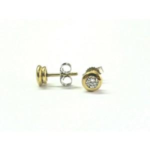 18Kt Round Cut Diamond Halo Yellow Gold Stud Earrings .50Ct G-VS2