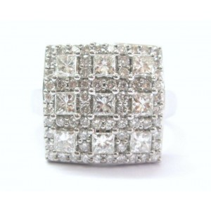 18Kt Multi Shape BLOCK Diamond Jewelry Ring White Gold 1.81CT