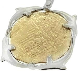 14k Two Tone Dolphin Atocha Coin Pendant