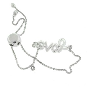 14k White Gold Diamond LOVE Bracelet