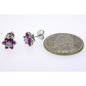 BH Effy Earrings Stud Pink Sapphire Diamond 14k White Gold Flower