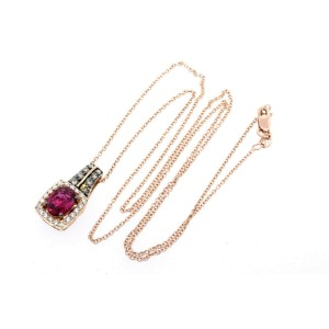 Levian Pendant Ruby Oval Chocolate Diamond Necklace 14k Rose Gold 18""