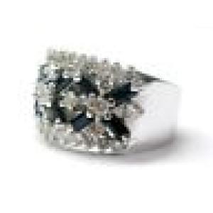 Platinum Gem Sapphire & Diamond Band WIDE Jewelry Ring 2.50CT