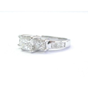 Princess Cut Diamond Three-Stone Engagement Ring Solid 14KT White Gold 1.13Ct