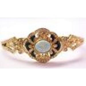 18Kt Multi-Colored Opal Onyx Diamond Bangle Bracelet Yellow Gold 3.85CT