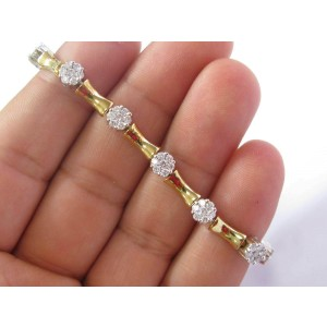 "Floral Diamond Tennis Bracelet Two-Tone Solid 14Kt Gold G-VS2 7"" 3.00Ct"