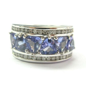 Natural Trillion Cut Tanzanite Diamond White Gold WIDE Jewelry Ring 14Kt 4.00Ct