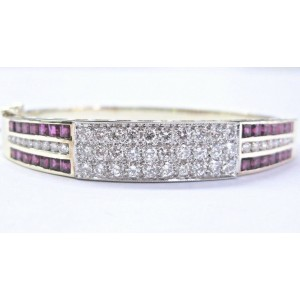NATURAL Gem Ruby & Diamond 14Kt SOLID Yellow Gold Bangle / Bracelet 6.00Ct