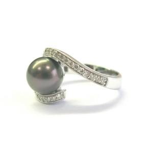 Tahitian Pearl & Diamond Ring 14Kt White Gold COSTCO 9mm .34Ct