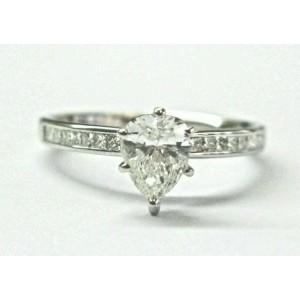 Pear Shape Diamond Engagement Ring 18Kt White Gold .88Ct E-VS2
