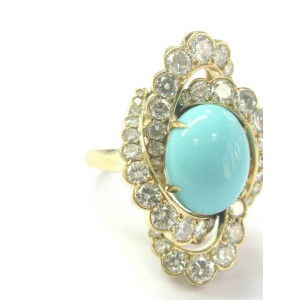 Fred Leighton Turquoise & Diamond Ring 18Kt Yellow Gold 8.70Ct F-VS1