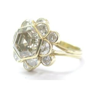 NATURAL Fancy Brown Octagonal Half Moons & Round Cut Diamond Ring 5.03Ct 18Kt YG