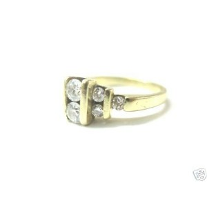 Natural Round Cut Diamond 2-Row Yellow Gold Channel Set Ring 14KT .76Ct