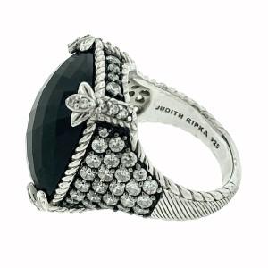 Judith Ripka Sterling Silver Monaco Onyx with Cz Ring