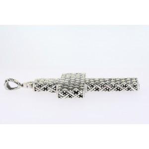 """John Hardy 4"""" Large Cross Necklace Pendant Sterling Silver 18k Gold Dot Elephant"""